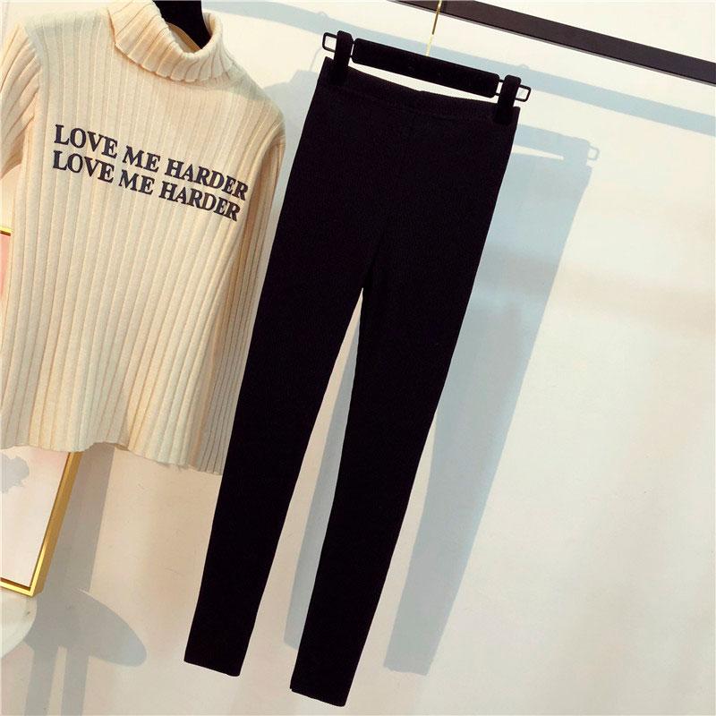 Женские брюки сын 2018 новый новинка зимний осеннний корейский талия значительно тоньше поддержка плотно ноги девять очков верхняя одежда