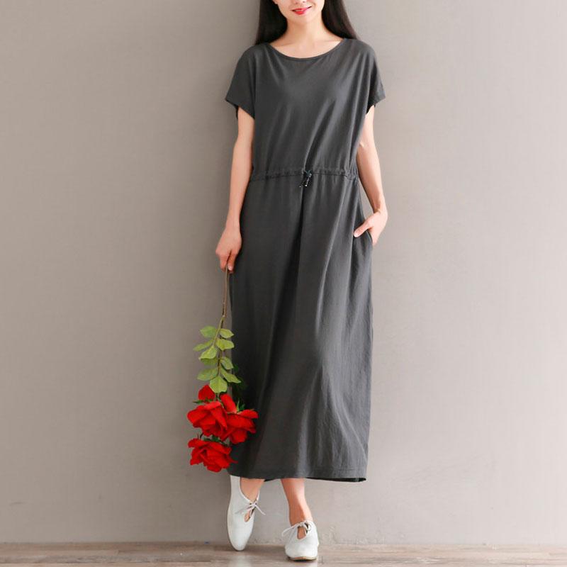2018 летний костюм новый льняная ткань платье свободный литература и искусство длинная модель талия кружево доломан лен юбка
