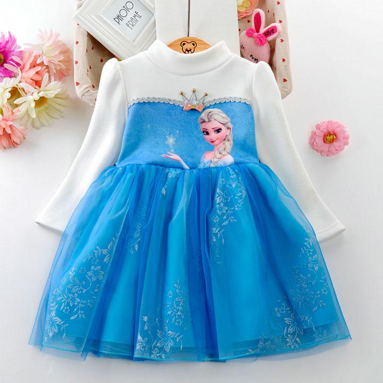 Девочки лед романтика платье принцессы 2017 новинка зимний осеннний утолщённый с дополнительным слоем пуха любовь аиша платье небольшой ребенок производительность